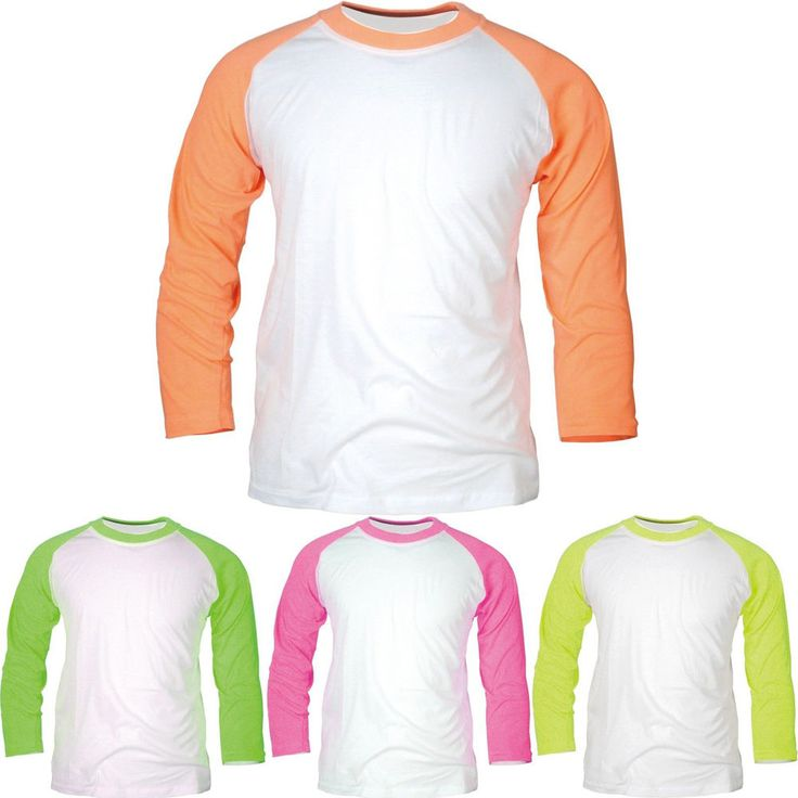 New 3/4 Sleeve Baseball Raglan T-Shirt Round Crew Neck Tee Jersey Fluorescent #hellobincom #FluorescentColorsRaglanTShirt