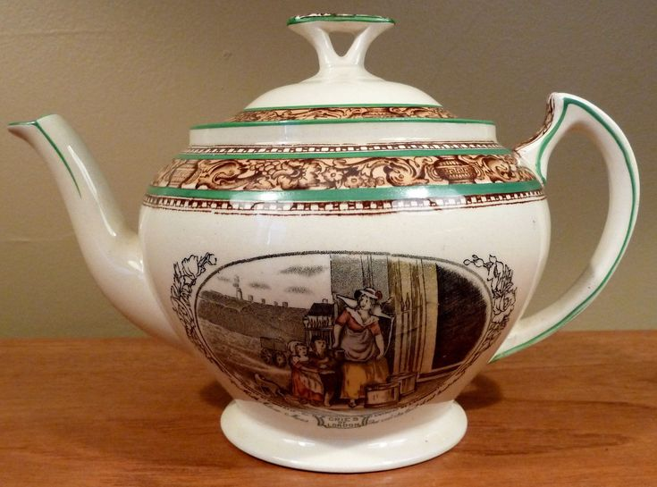 Rare antique Adams China (Tunstall, England) ironstone teapot in the Cries of London brown and green rim version (1920-1965). Two of the Cries of London colorful transferware scenes: Matches and Milk Maids. | eBay!