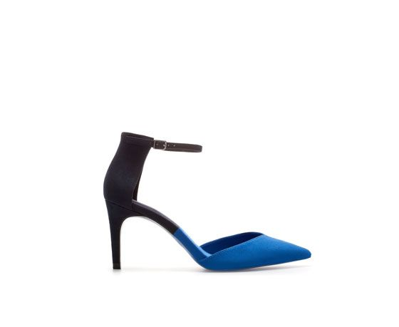 Image 1 of TWO-TONE HIGH HEEL COURT SHOE WITH ANKLE STRAP from Zara