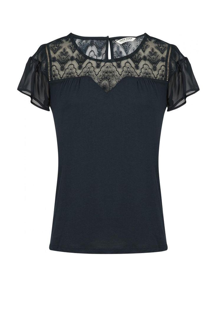 Top manches courtes avec empiecement dentelle  fougere - tee-shirts femme - naf naf 1
