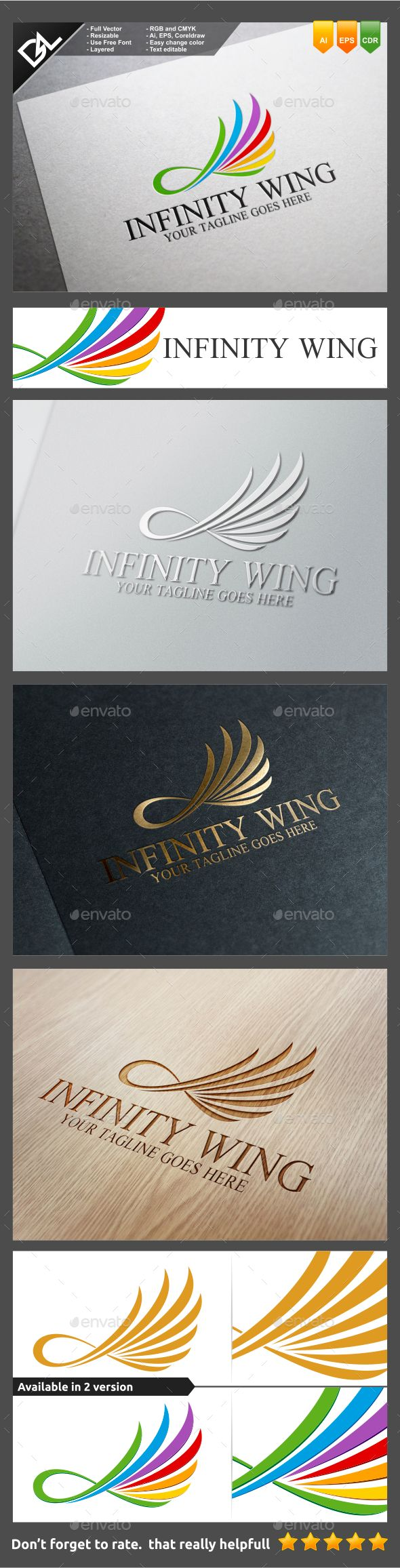 Infinity Wing — Vector EPS #movement #elegant • Available here → https://graphicriver.net/item/infinity-wing/9571805?ref=pxcr
