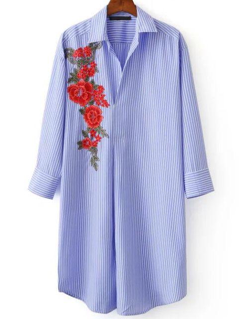 Blusa de rayas verticales bordada de flor - azul-Spanish SheIn(Sheinside)