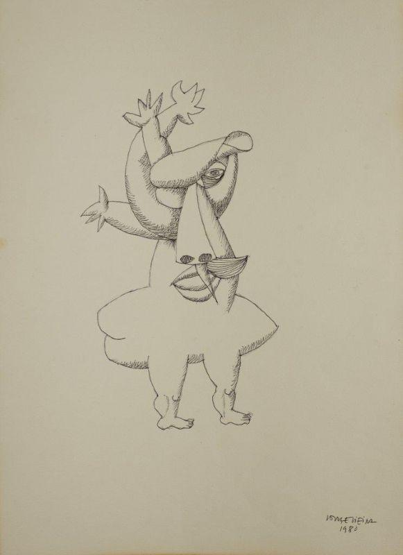 Sem Titulo 169)07 1980 Chinese Ink x Paper 43,3cm x30,6cm #JorgeVieira #sculpture #SaoMamede #art #drawings #visit #lisbon #gallery