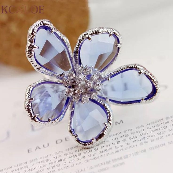 Blue Transparent Crystal Wedding Rings Big Flowers Jewelry Silver Plated Cubic Zirconia Engagement Ring Anel Feminino