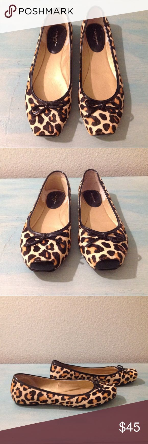 Halogen Square Toe Leopard Calf Hair Ballet Flat Adorable and comfortable Leopard Calf hair ballet flats with feminine bow detailing. Genuine leather upper with man made sole. Halogen Shoes Flats & Loafers