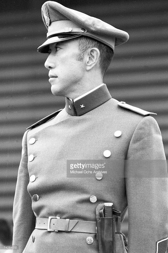 Poet, author, actor, playwright, novelist and head of the Tatenokai (his private army) Yukio Mishima (Kimitake Hiraoka)poses in his military uniform while reviewing his troops circa 1967 in Tokyo, Japan.
