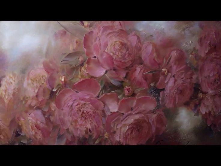 """""""Розовые пионы"""". Живопись маслом. Process of creating oil painting. Oil ..."""