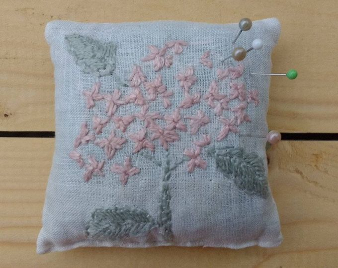 Linen pin cushion with embroidery, dried lavender, hydrangea, vintage style, white nani iro fabric