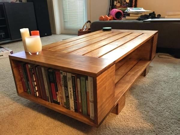 Bookshelf Coffee Table Slat Coffee Table With Incorporated Book