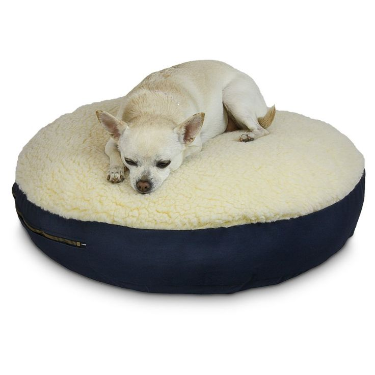Snoozer Round Dog Bed with Sherpa Top Navy - 91400