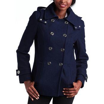 Calvin Klein Women's Navy Wool-Blend Hooded Pea Coat. SHOP IT NOW