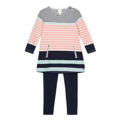 J by Jasper Conran Girls' multi-coloured striped tunic and navy leggings set | Debenhams