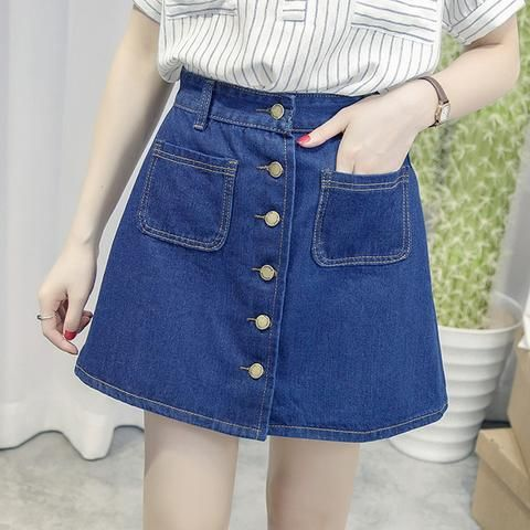 4413c057c44 On sale 2018 summer Womens ladies A-line Skirt Pencil denim High Waist jeans  harajuku pockets Skirt black white high quality