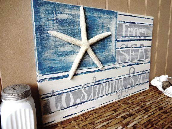 This one is fun too!  From Sea To Shining Sea Nautical Starfish Beach by MeetMeByeTheSea, $55.00