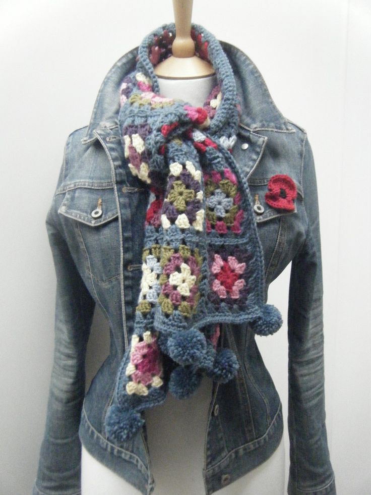 Granny Square Scarf with pom-poms by Sam Roberts at The Sewing Mistress Blog