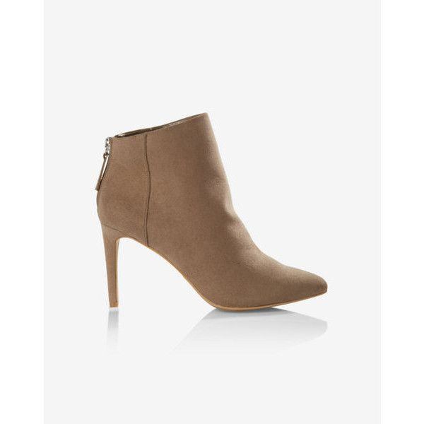 Express Faux Suede Pointed Toe Heeled Bootie found on Polyvore featuring polyvore, women's fashion, shoes, boots, ankle booties, neutral, ankle boots, high heel ankle booties, pointed-toe ankle boots and pointy-toe ankle boots