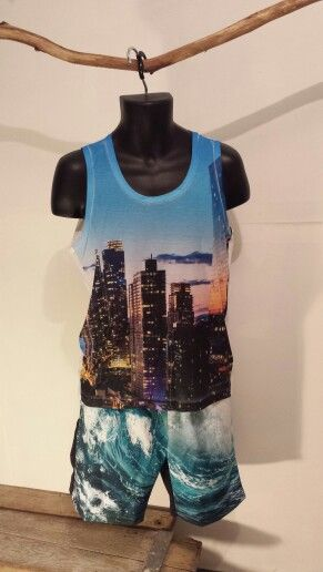 City Scape Singlet and Ocean Shorts