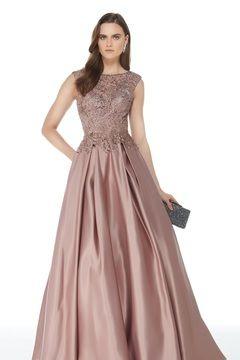 6c918dfab0 2019 Elegantes vestidos de noche A-Line Scoop Satén con bolsillos palabra  de longitud