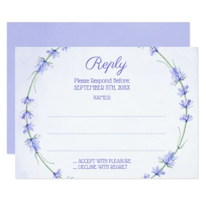 Lavender Wreath Monogram Wedding Reply Cards - wedding invitations diy cyo special idea personalize card