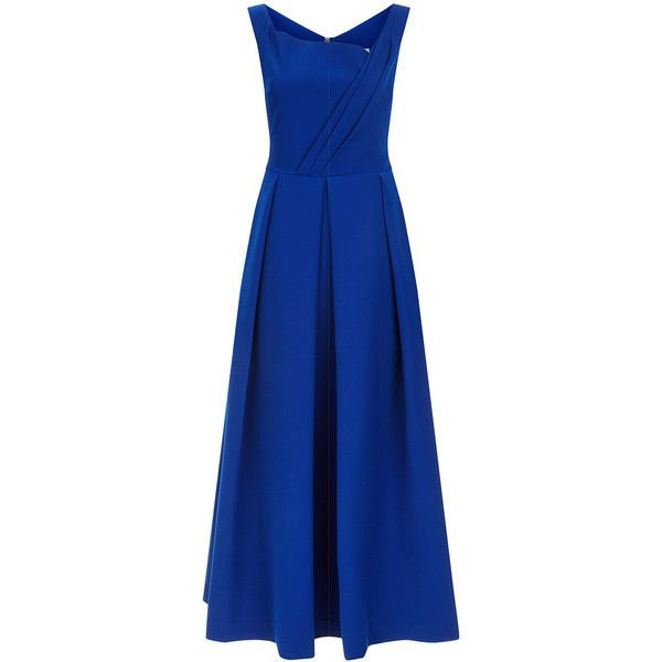 Preen by Thornton Bregazzi Royal Blue Finella Full Skirt Dress ($1,265) ❤ liked on Polyvore featuring dresses, blue cocktail dresses, blue midi dress, evening dresses, full midi skirts and midi dress