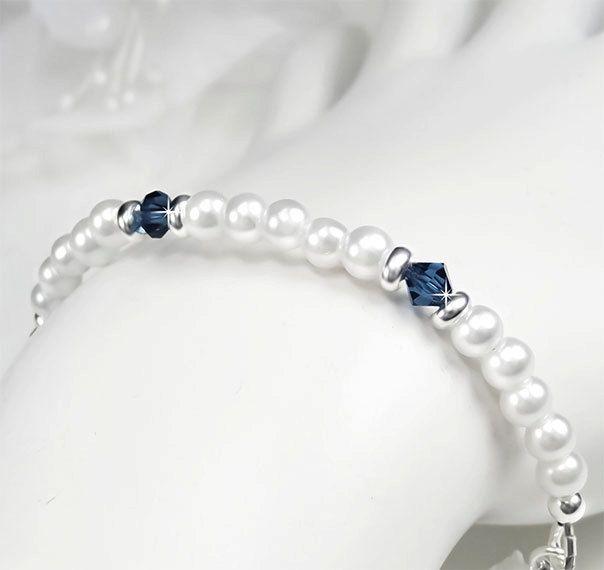 Flower Girl Bracelet, White Pearl and Navy Blue Swarovski Crystals Flower Girl Bracelet, Little Girl Jewelry -Candace WFG0132. $24.00, via Etsy.