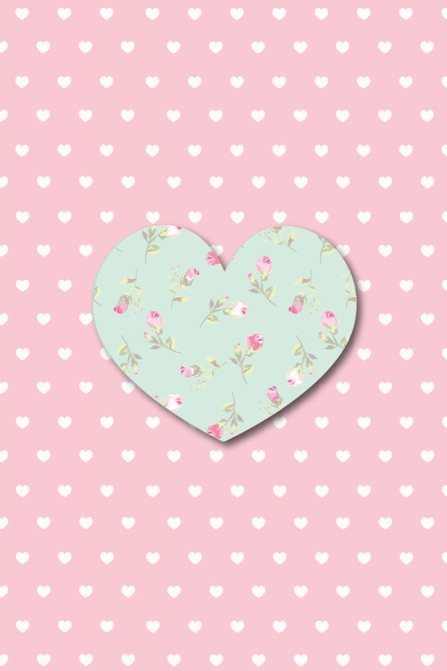 Floral heart and polka dots iphone wallpaper
