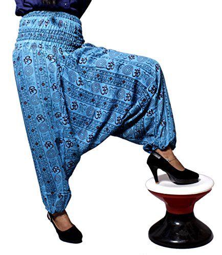 Krishna Mart Aladdin Afghani Cotton Om Baggy Genie Harem Pants Hippie India (Blue) Krishna Mart India http://www.amazon.com/dp/B014H2QX66/ref=cm_sw_r_pi_dp_FH.xwb1W97QSC
