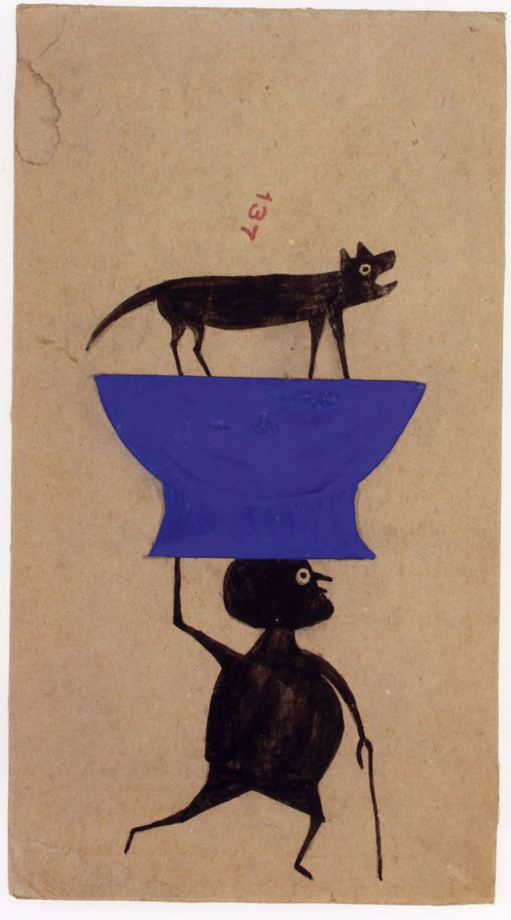 """Bill Traylor, """"Untitled"""" ca. 1939-42, poster paint & pencil on cardboard, 13.25 x 7.25 ins. (High Museum of Art)"""