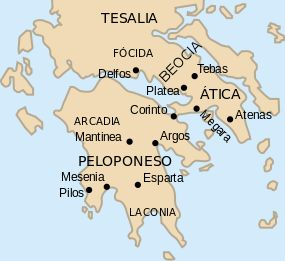 Mapa de la Antigua Grecia.