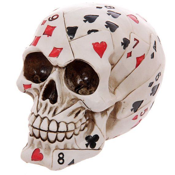 Skull of Cards Ornament Gothic Figurines Height by getgiftideas