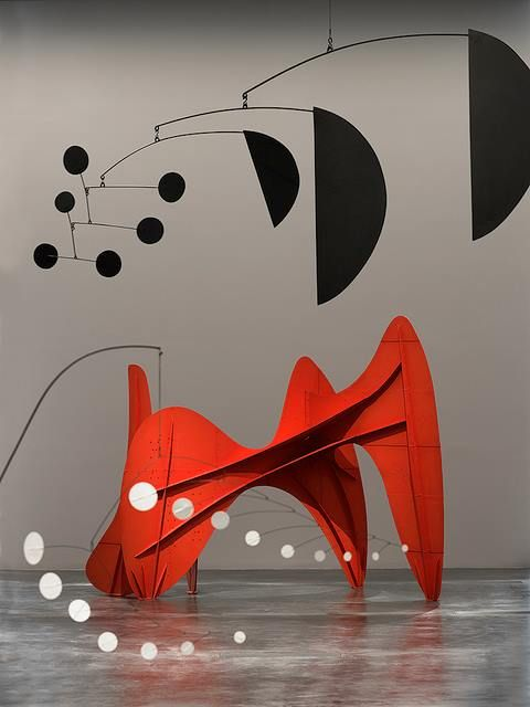 ALEXANDER CALDER. Alexander Calder was an American sculptor best known as the originator of the mobile, a type of kinetic sculpture made with delicately balanced or suspended components which move in response to motor power or air currents. Wikipedia