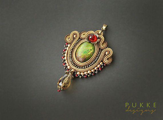 Hazel soutache pendant with green jasper stone by pUkke on Etsy, €32.00
