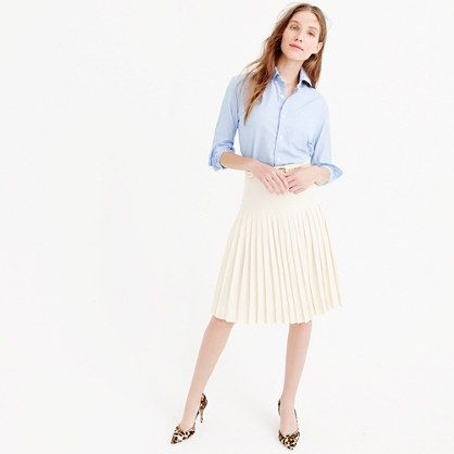 """We made this meticulously pleated skirt in our signature four-season Super 120s merino wool. What makes it so super is the measure of the fiber: The higher the number, the finer the fiber, and 120 is one of the finest with a silky-smooth finish and a refined drape. Because we don't think work clothes should be business as usual. .<ul><li>Sits at waist.</li><li>23 1/2"""" long.</li><li>Falls above knee.</li><li>Super 120s merino wool.</li><li>Side zip.</li><li>Lined.</li><li>Dry…"""
