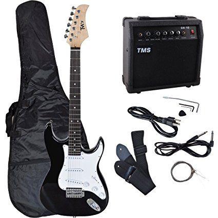 TMS Full Size Electric Guitar w/ 10 Watt Amp Gig Bag Case Guitar Strap for Beginners