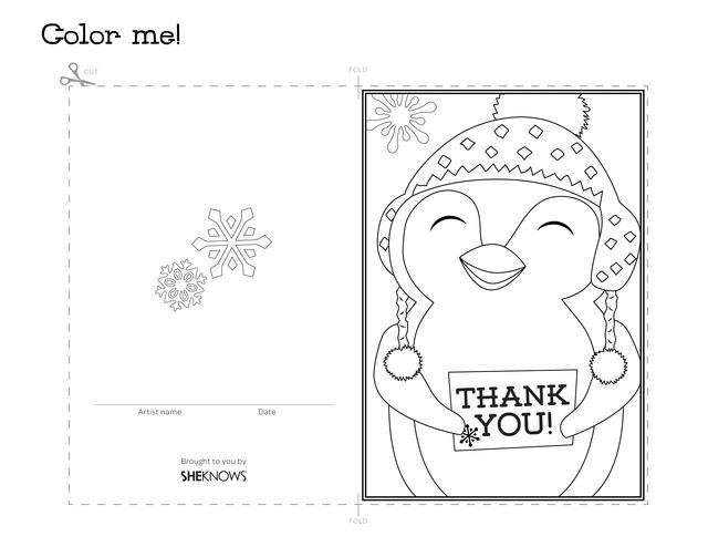 penguin holiday thank you card  free printable coloring
