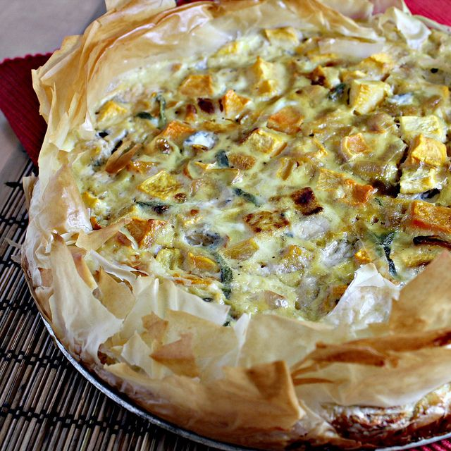 Roasted Pumpkin Quiche with Caramelized Onions, Gorgonzola, and Sage