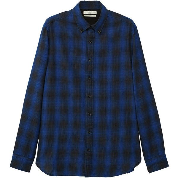 MANGO MAN Slim-fit check flannel shirt ($23) ❤ liked on Polyvore featuring men's fashion, men's clothing, men's shirts, men's casual shirts, vibrant blue, blue shirt, long sleeve button shirt, blue flannel shirt, long sleeve tops and blue collar shirt