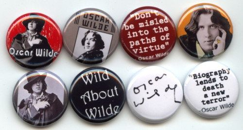 "OSCAR WILDE 8 Irish writer and poet Pinback 1"" Buttons Badges Pins. $9.00, via Etsy."