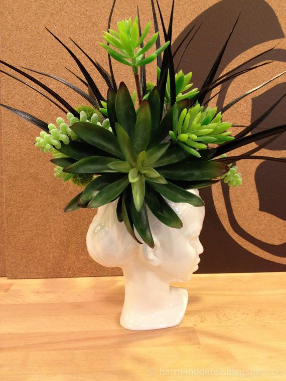 Modern Ceramic Head Planter Succulent Lady By Membil On