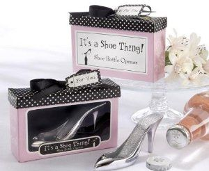 "Kate Aspen It's a Shoe Thing! Bottle Opener by Kateaspen. $3.50. Shoe-box top is jet black with small, white polka dots, a black, grosgrain bow and a matching ""For You"" tag.. Opener measures 1 ¾-inch h x 1 ¼-inch w x 4 ¾-inch l.. Passion-pink gift box says ""It's a Shoe Thing!"" Shoe Bottle Opener on the front and back.. Gift box measures 3 ¼-inch h x 1 ¼-inch w x 4 ¾-inch l/Chrome shoe bottle opener with rhinestone accents.. Envision style and sophistication married ..."