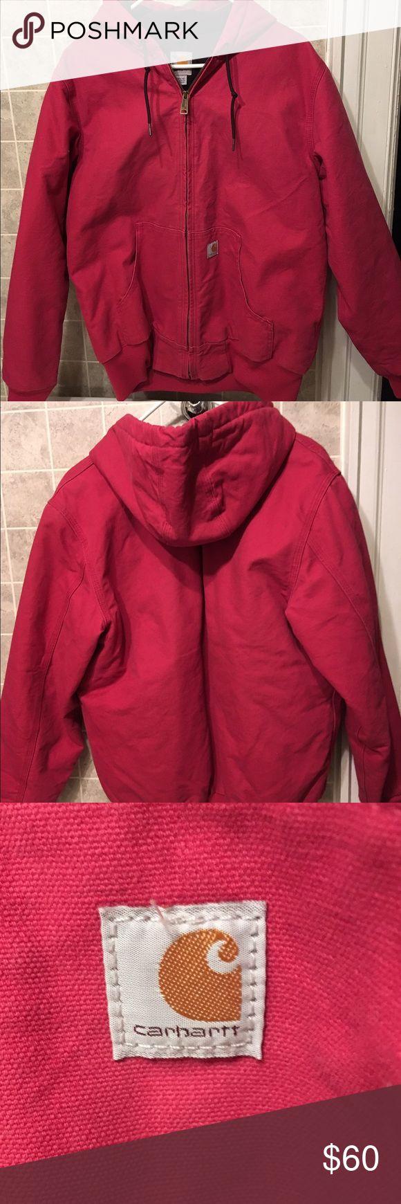 SALE NWOT women's pink Carhartt hood jacket size M NWOT women's pink classic Carhartt hooded zip up jacket with Carhartt logo size medium 8-10. Runs slightly big. Never worn. Carhartt Jackets & Coats