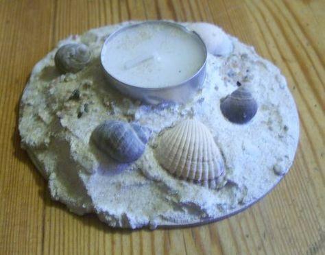 Teelichthalter mit Sand und Muscheln   Bastelfrau