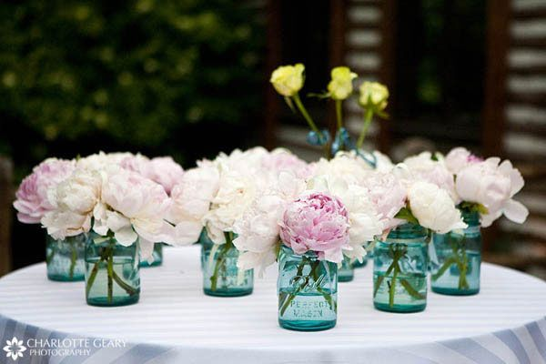 Does it get any better than peonies in mason jars?  I would happily have these sitting throughout my home...
