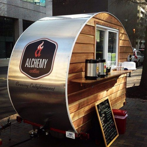 "Tiny mobile coffee stand. Last pinner said, ""Alchemy Coffee, Richmond. Really digging this stainless steel  rustic timber fit out."""