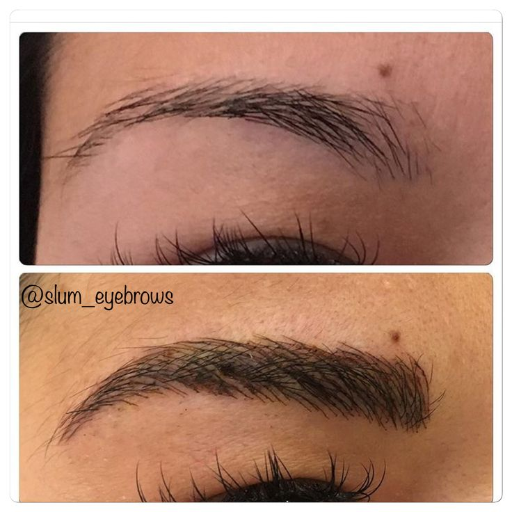 Microblading before and after permanent makeup tattoo