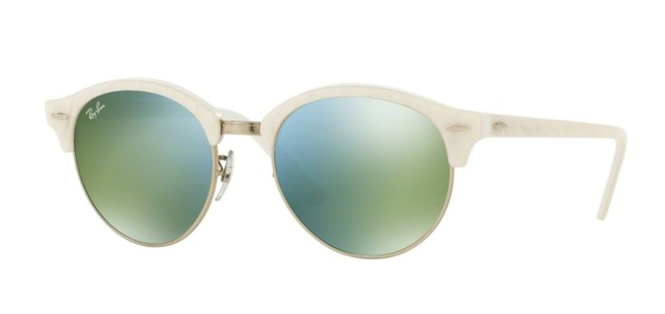 Ray-Ban per unisex rb4246  - 988\/2X (TOP WRINKLED WHITE ON WHITE\/green mirror green), Occhiali da Sole Calibro 51