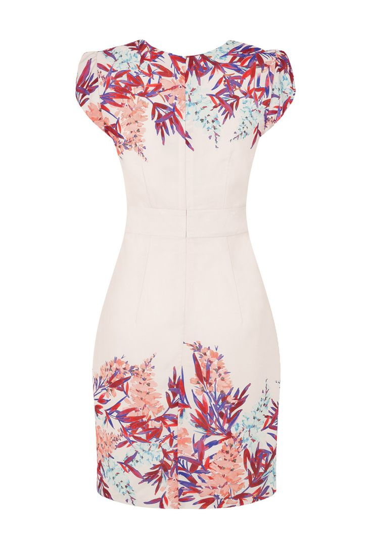 The tropical Isla floral dress is the perfect plus one for the races or a wedding event this summer! This feminine silk feel dress is cut with cap sleeves and cleverly folded toward the waist- creating petite hourglass curves. For the Duchess of Cambridge look, the Isla's immaculate cream fabric with contrasting tropical print is the perfect choice! Picture yourself in the Isla having cocktails in the sun with all your best friends- what better way to enjoy summer! Hem is cut above the knee…