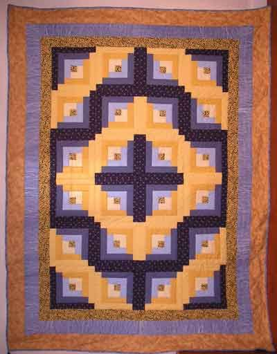 Fresh Yellow and Blue Log Cabin Quilt Size x inches Log Cabin block features