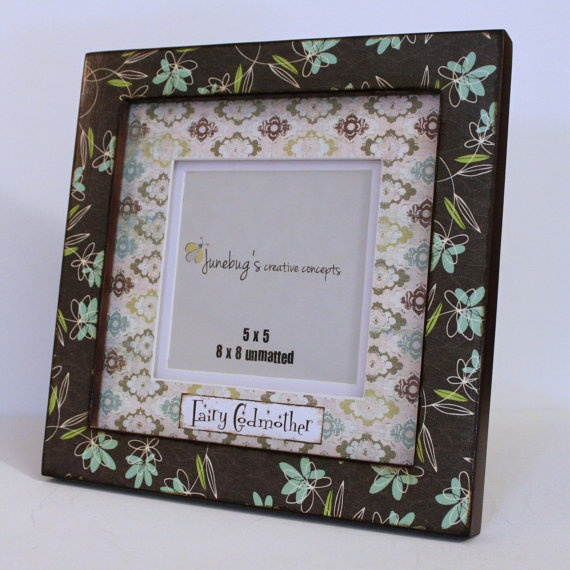 5x5 or 8x8 Large Photo Frame Brown Aqua Floral by JunebugsCC, $31.00