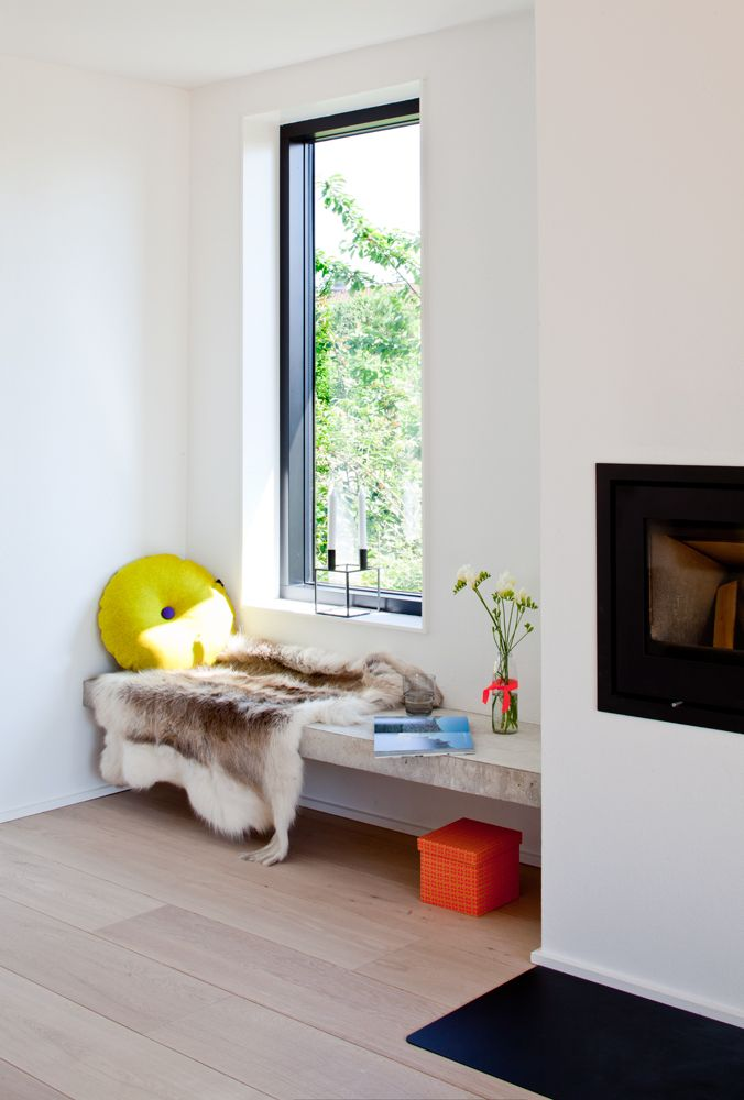 Love the white walls with no trim black aluminum windows and wide plank wood floors